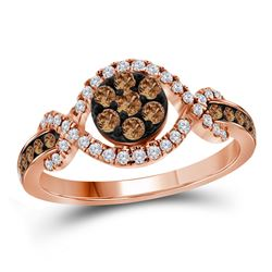 1/2 CTW Round Brown Diamond Flower Cluster Ring 10kt Rose Gold - REF-41A9N