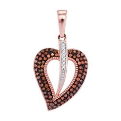 1/4 CTW Round Red Color Enhanced Diamond Heart Pendant 10kt Rose Gold - REF-21M5A