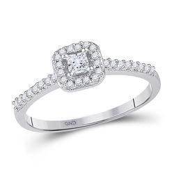 1/4 CTW Princess Diamond Solitaire Bridal Wedding Engagement Ring 10kt White Gold - REF-19W2F