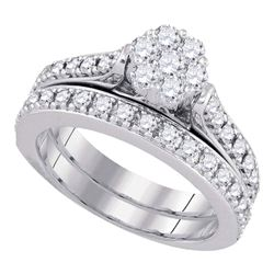 1 CTW Round Diamond Bridal Wedding Engagement Ring 14kt White Gold - REF-107F9M