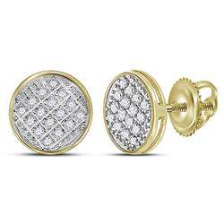 1/12 CTW Mens Round Diamond Circle Cluster Stud Earrings 10kt Yellow Gold - REF-8F4M
