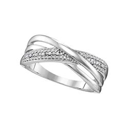 0.02 CTW Round Diamond Crossover Ring 10kt White Gold - REF-11H9W