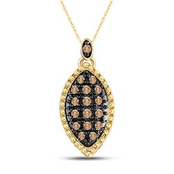 1/5 CTW Round Brown Diamond Cluster Pendant 10kt Yellow Gold - REF-9T6K