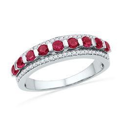 1 CTW Round Lab-Created Ruby Diamond Ring 10kt White Gold - REF-24T3K