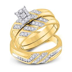 3/8 CTW His & Hers Round Diamond Solitaire Matching Bridal Wedding Ring 10kt Yellow Gold - REF-45A3N