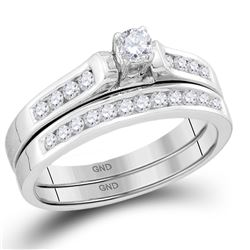 1/2 CTW Round Diamond Bridal Wedding Engagement Ring 14kt White Gold - REF-54Y3X