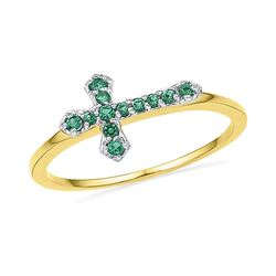 1/8 CTW Round Lab-Created Emerald Cross Ring 10kt Yellow Gold - REF-6H6W