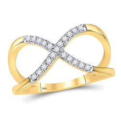 1/6 CTW Round Diamond Split-shank Infinity Ring 10kt Yellow Gold - REF-18H3W