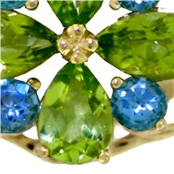 Genuine 2.43 ctw Peridot & Blue Topaz Ring 14KT White Gold - REF-48Z3N