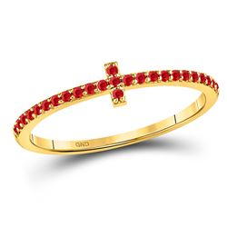 1/6 CTW Round Ruby Stackable Cross Ring 10kt Yellow Gold - REF-10K8R
