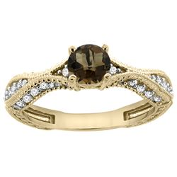 0.81 CTW Quartz & Diamond Ring 14K Yellow Gold - REF-67K8W