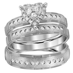 1/3 CTW His & Hers Round Diamond Heart Matching Bridal Wedding Ring 14kt White Gold - REF-57K3R