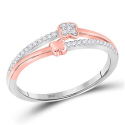 1/10 CTW Round Diamond Two Row Quatrefoil Ring 10kt White Gold - REF-11X9T