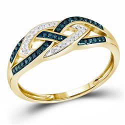 1/6 CTW Round Blue Color Enhanced Diamond Crossover Braid Ring 10kt Yellow Gold - REF-18X3T