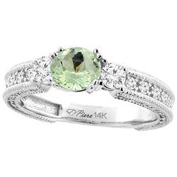 1.30 CTW Amethyst & Diamond Ring 14K White Gold - REF-85Y3V