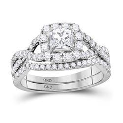 1 CTW Princess Diamond Twist Bridal Wedding Engagement Ring 14kt White Gold - REF-105T5K