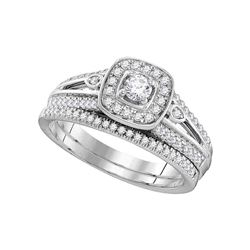 1/2 CTW Round Diamond Halo Bridal Wedding Engagement Ring 10kt White Gold - REF-54F3M