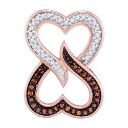 1/8 CTW Round Red Color Enhanced Diamond Double Heart Pendant 10kt Rose Gold - REF-13Y2X