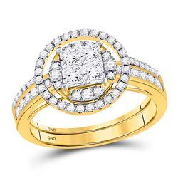 1 CTW Princess Diamond Bridal Wedding Engagement Ring 14kt Yellow Gold - REF-90N3Y