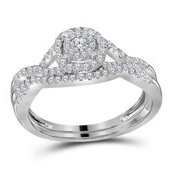 1/2 CTW Diamond Round Bridal Wedding Engagement Ring 14kt White Gold - REF-54M3A