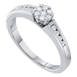 1/4 CTW Round Diamond Flower Cluster Ring 10kt White Gold - REF-21A5N