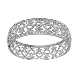 1.48 CTW Diamond Bangle 18K White Gold - REF-432N7Y