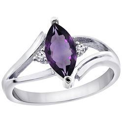 1.04 CTW Amethyst & Diamond Ring 10K White Gold - REF-22V9R