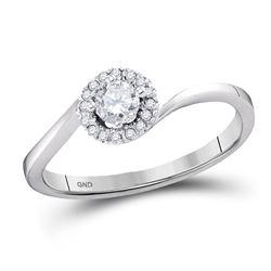 1/4 CTW Round Diamond Solitaire Halo Bridal Wedding Engagement Ring 10kt White Gold - REF-27F5M