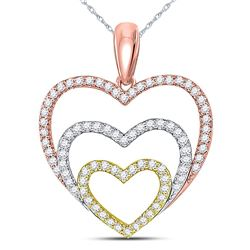 1/3 CTW Round Diamond Triple Nested Heart Pendant 10kt Tri-Tone Gold - REF-27W5F