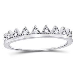 1/10 CTW Round Diamond Chevron Stackable Ring 10kt White Gold - REF-11T9K