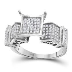 3/8 CTW Round Diamond Elevated Square Cluster Ring 10kt White Gold - REF-24F3M