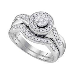 1/3 CTW Round Diamond Cluster Bridal Wedding Engagement Ring 10kt White Gold - REF-33X6T