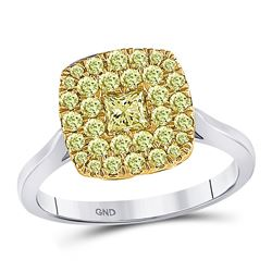 1 CTW Princess Yellow Diamond Solitaire Square Frame Ring 14kt Two-tone Gold - REF-107X9T