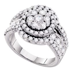 2 CTW Round Diamond Flower Cluster Cluster Ring 14kt White Gold - REF-165K5R
