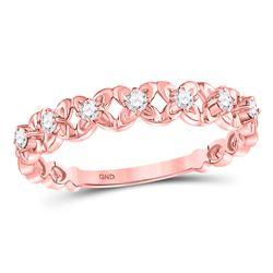 1/6 CTW Round Diamond Flower Petal Stackable Ring 10kt Rose Gold - REF-16K8R