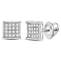 1/10 CTW Round Diamond Square Earrings 10kt White Gold - REF-8R4H