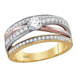 3/4 CTW Round Diamond Solitaire Bridal Wedding Engagement Ring 14kt Yellow Rose Gold - REF-90T3K