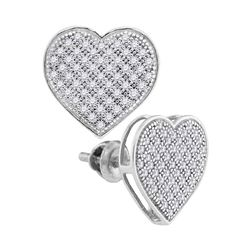 1/3 CTW Round Diamond Heart Cluster Screwback Earrings 10kt White Gold - REF-19R2H