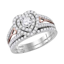 1 & 1/5 CTW Diamond Heart Bridal Wedding Engagement Ring 14kt Two-tone Gold - REF-111T6K