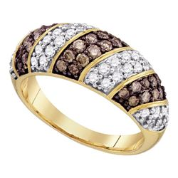 1 CTW Round Brown Diamond Ring 10kt Yellow Gold - REF-60A3N