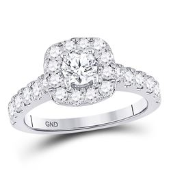 1 & 1/2 CTW Round Diamond Solitaire Bridal Wedding Engagement Ring 14kt White Gold - REF-192M3A