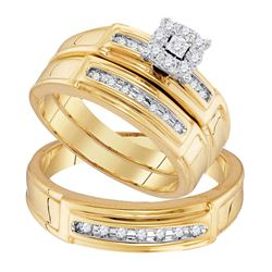 1/3 CTW His & Hers Round Diamond Solitaire Matching Bridal Wedding Ring 10kt Yellow Gold - REF-45T6K