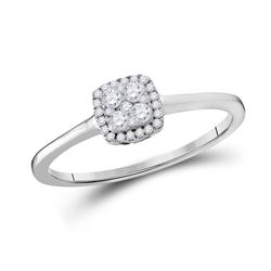 1/5 CTW Round Diamond Square Cluster Ring 10kt White Gold - REF-18Y3X