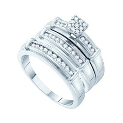 3/8 CTW His & Hers Round Diamond Cluster Matching Bridal Wedding Ring 14kt White Gold - REF-65X9T