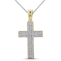 1/3 CTW Mens Round Diamond Cross Charm Pendant 10kt Yellow Gold - REF-33M3A