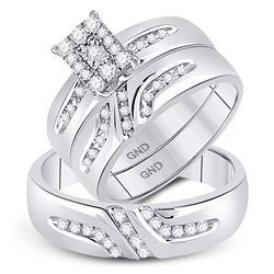 1/3 CTW His & Hers Round Diamond Solitaire Matching Bridal Wedding Ring 10kt White Gold - REF-35F9M