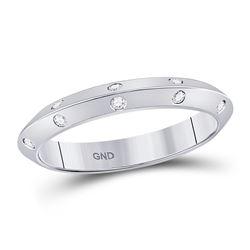 1/10 CTW Round Diamond Wedding Machine-Set Ring 14kt White Gold - REF-24N3Y