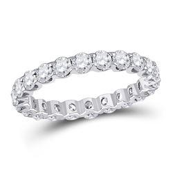 2 CTW Round Diamond Timeless Eternity Ring 14kt White Gold - REF-143H9W