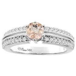 1 CTW Morganite & Diamond Ring 14K White Gold - REF-69R9H