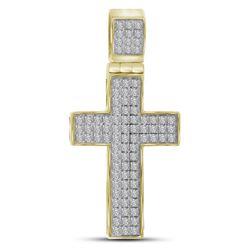 1/4 CTW Mens Round Diamond Cross Charm Pendant 10kt Yellow Gold - REF-21F5M